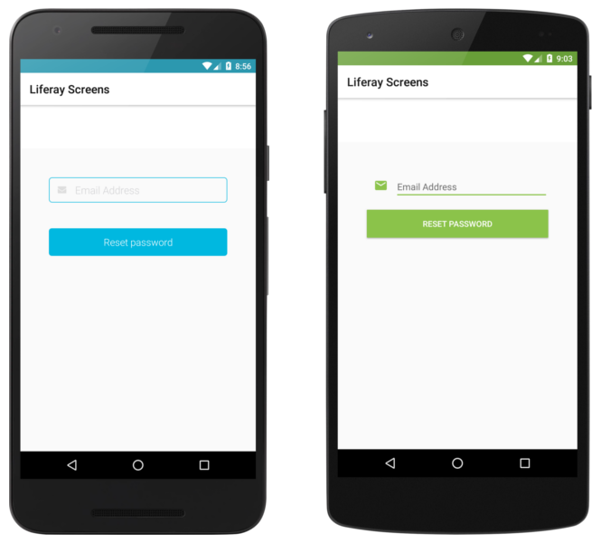 The Forgot Password Screenlet with the Default (left) and Material (right) Viewsets.