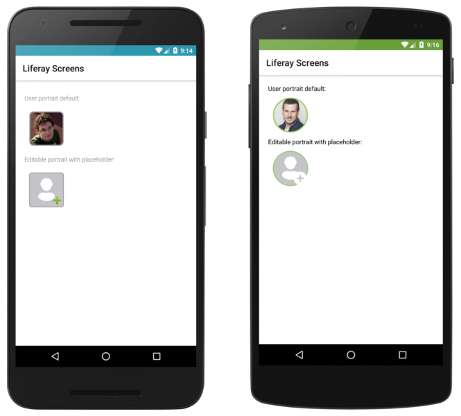 The User Portrait Screenlet using the Default (left) and Material (right) Views.