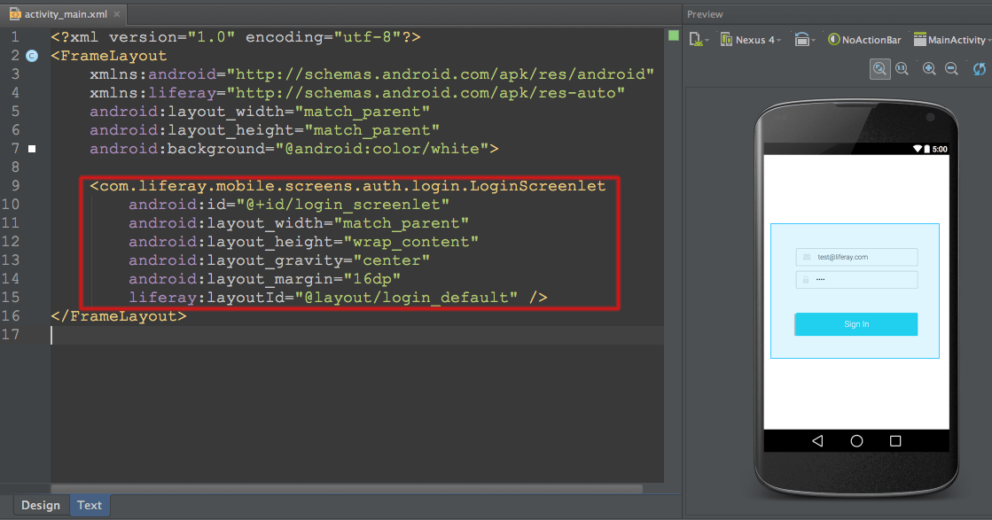 Figure 1: Heres the Login Screenlet in an activitys layout in Android Studio.