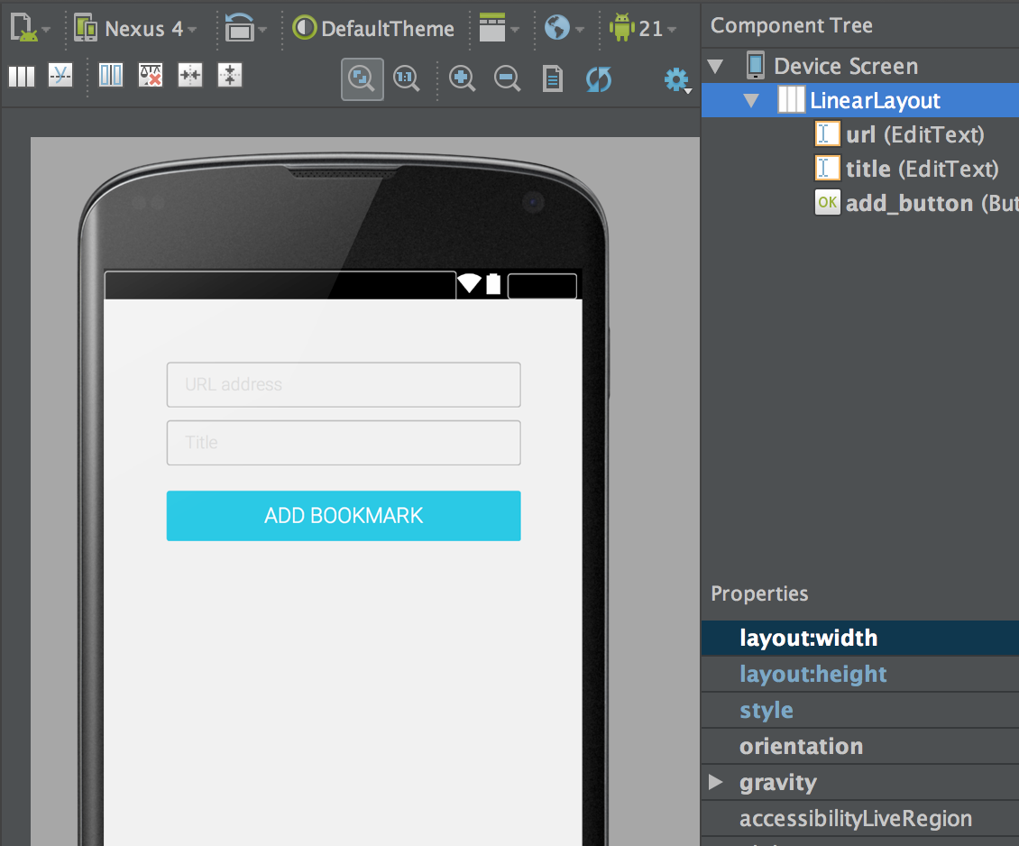 Figure 1: Add Bookmark Screenlets layout contains two text fields and a button.