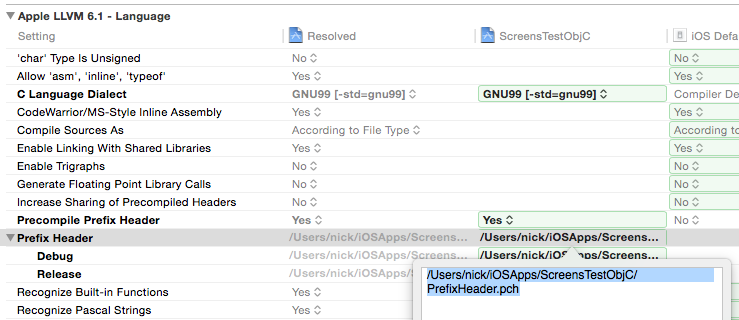 Figure 5: The PrefixHeader.pch configuration in Xcode settings.