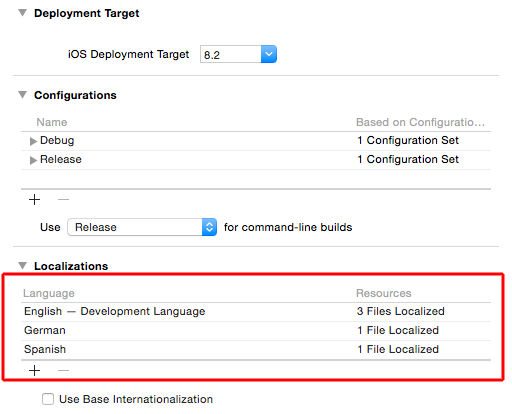 Figure 6: The Xcode localizations in the projects settings.