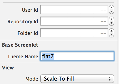 Figure 2: In Interface Builder, you specify a Screenlets Theme by entering its name in the Theme Name field; this sets the Screenlets themeName property.
