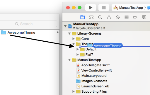Figure 1: To install a Theme into an Xcode project, drag and drop the Themes folder into it.
