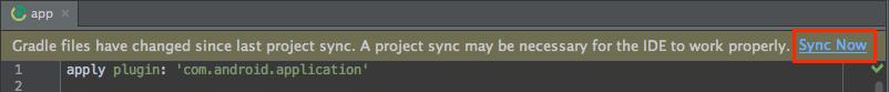図2:アプリモジュールの build.gradle ファイルを編集した後、今すぐ同期をクリックして、アプリに変更を反映します。