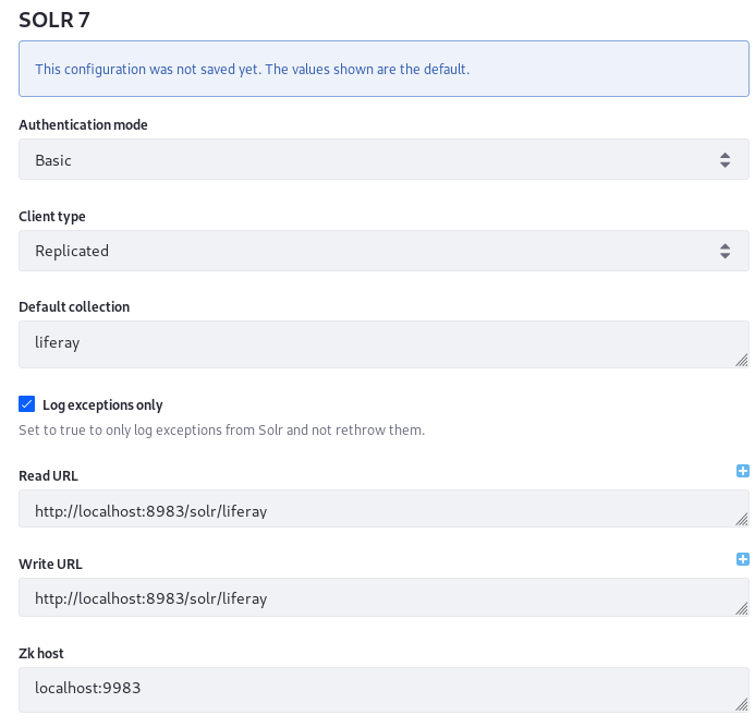 Figure 2: You can configure Solr from Liferay DXPs System Settings application. This is most useful during development and testing.