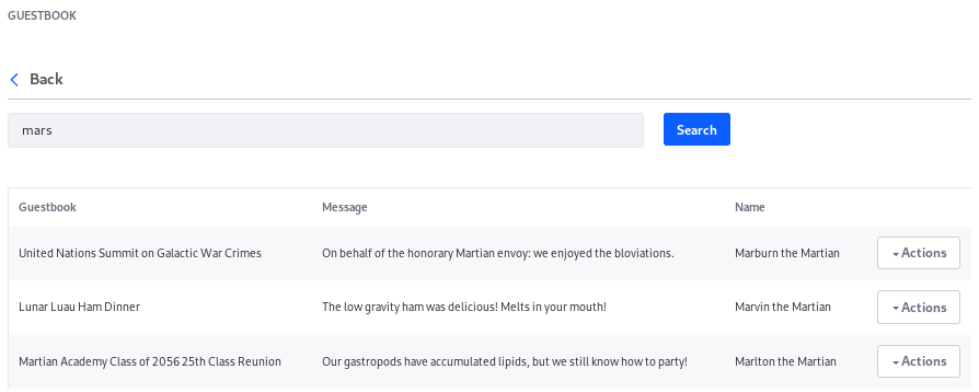 Figure 2: The Guestbook Application now supports searching for indexed Guestbook Entries.