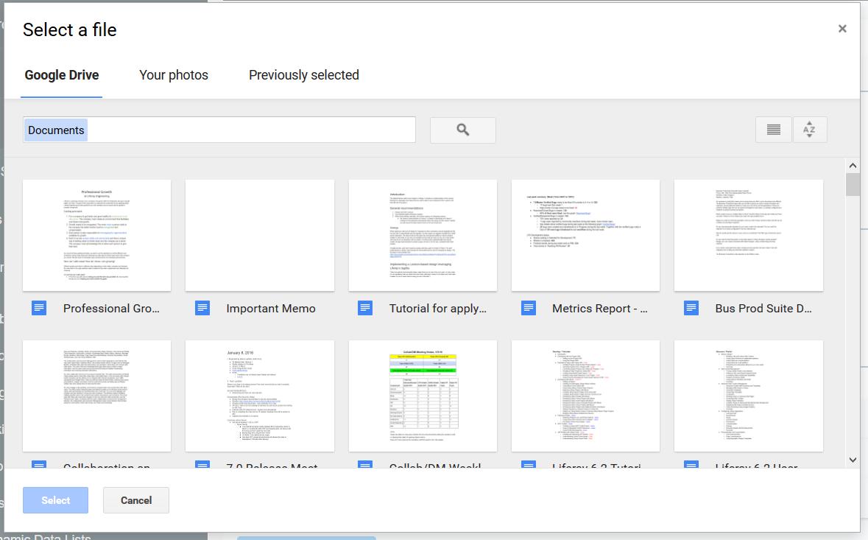 図1:Google Drive™または写真からファイルを選択できます。