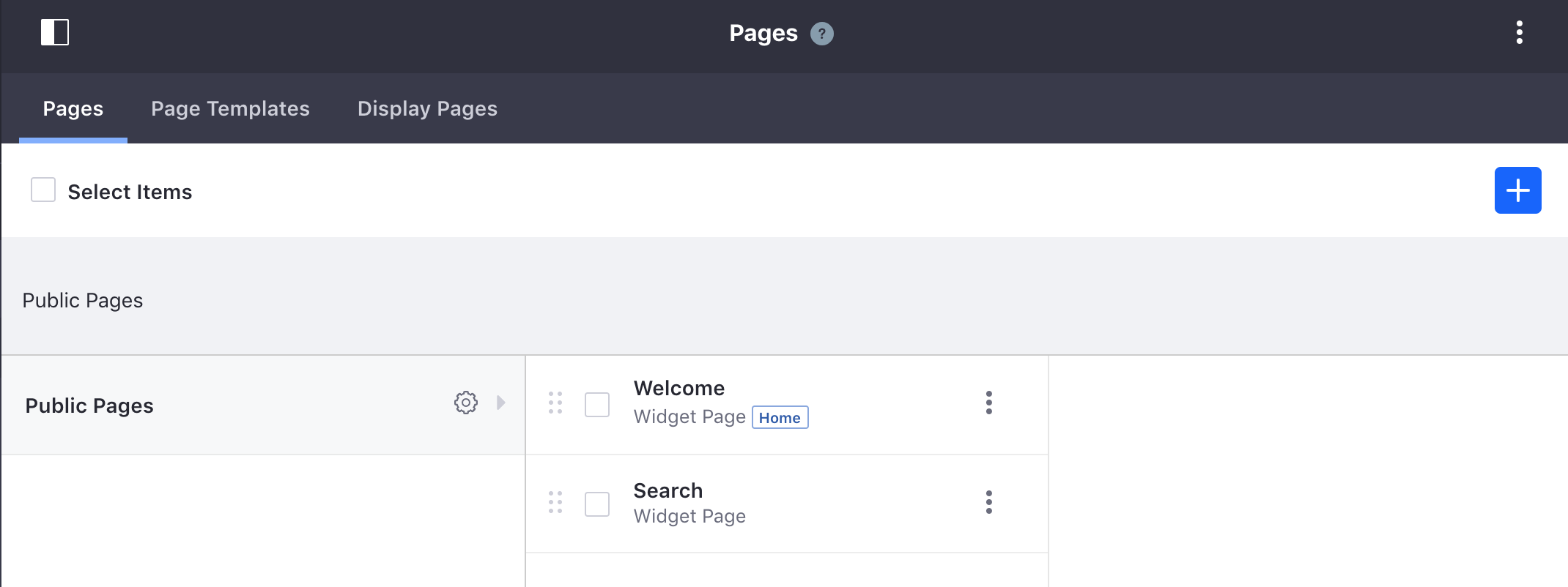 Figure 1: In the default site, initially only the Welcome and the hidden Search pages exist in the Public Pages Hierarchy.