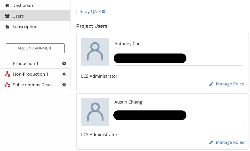 Figure 1: The Users tab lets you manage the LCS users in your project.