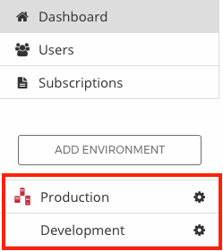 Figure 2: You must register your server in an LCS environment. The red box in this screenshot highlights environments.