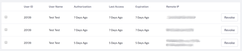 Figure 2: All authorizations for an app appear in the Authorizations tab for the app.