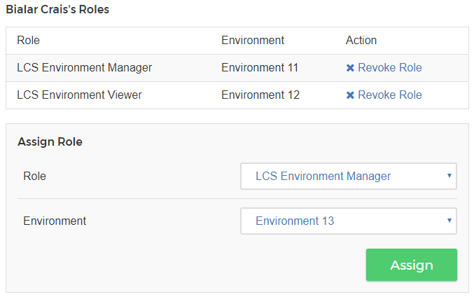 Figure 2: You can assign or revoke a users LCS Roles.