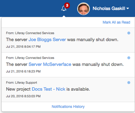 Figure 3: Web notifications let you know whats happening in your LCS projects.