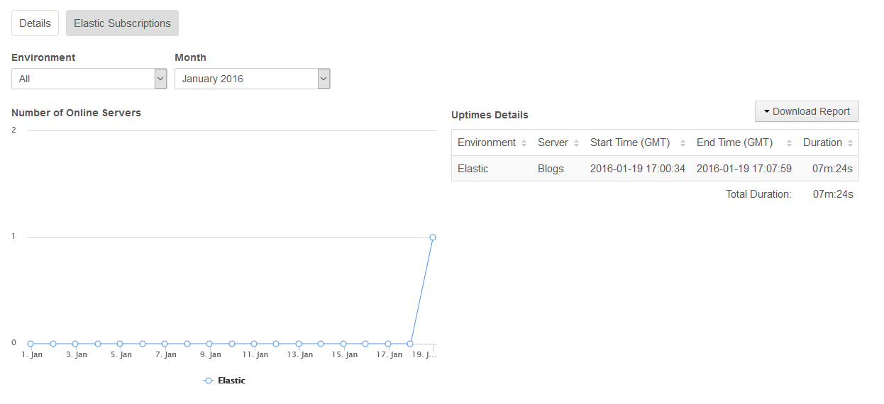 Figure 2: The Elastic Subscriptions tab shows details about your projects elastic servers.