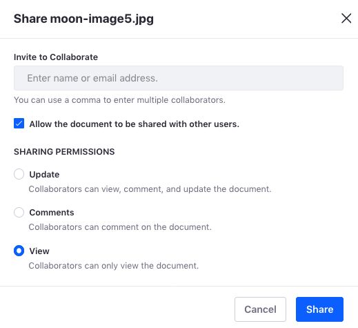 Figure 1: To share a file, you must fill out the Share dialog as these steps describe.
