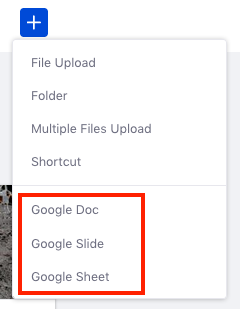 Figure 1: You can create new Google documents in Documents and Media.