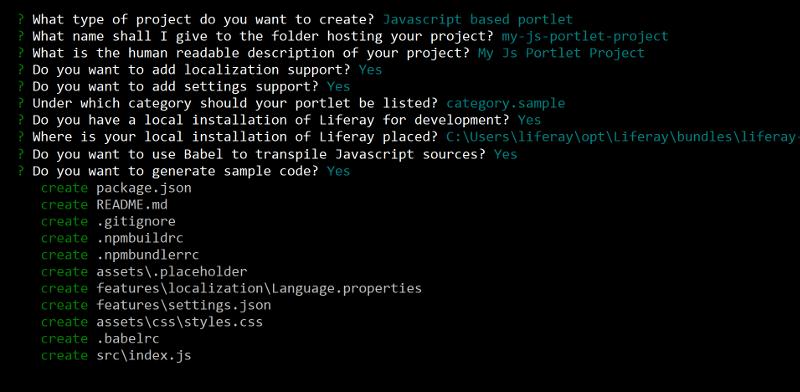 図1:liferay-bundleジェネレーターは、ウィジェットオプションの入力を求めます。