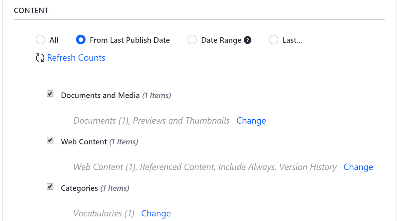 Figure 1: Click the Change button for a content group to manage its specific content.
