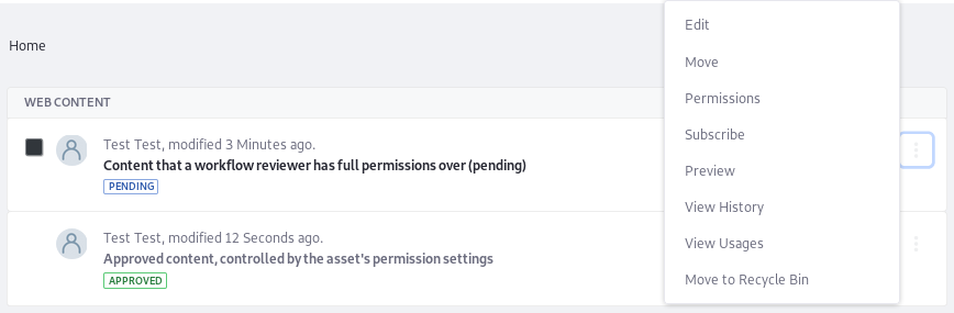 Figure 3: A User with access to Web Content in the Workflow can manage Pending Articles.