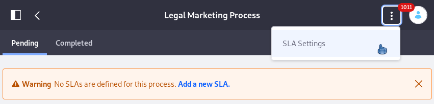 Figure 1: Add SLAs to a workflow definition from the Metrics application.