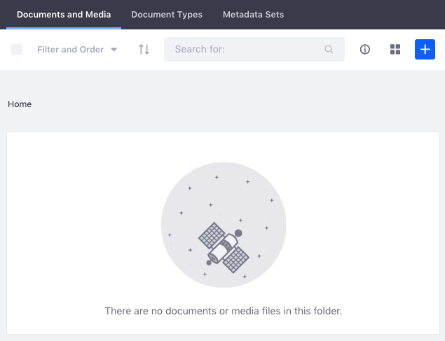 Figure 2: The Documents and Medias Home folder starts empty.