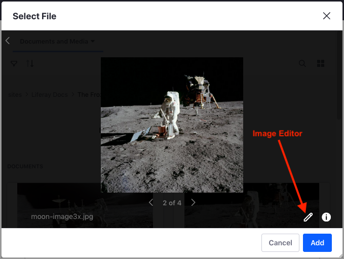 Figure 2: You can also access the image editor through the item selector preview window.