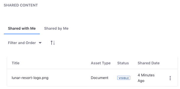 Figure 3: The Shared Content app lists the files shared with you, and the files you shared.