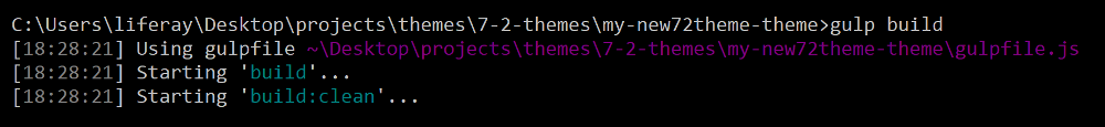Figure 1: Run the gulp build task to build your themes files.