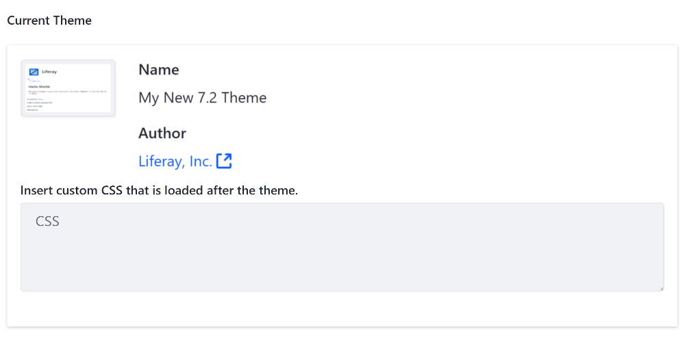 Figure 2: Your theme thumbnail is displayed with the rest of the available themes.
