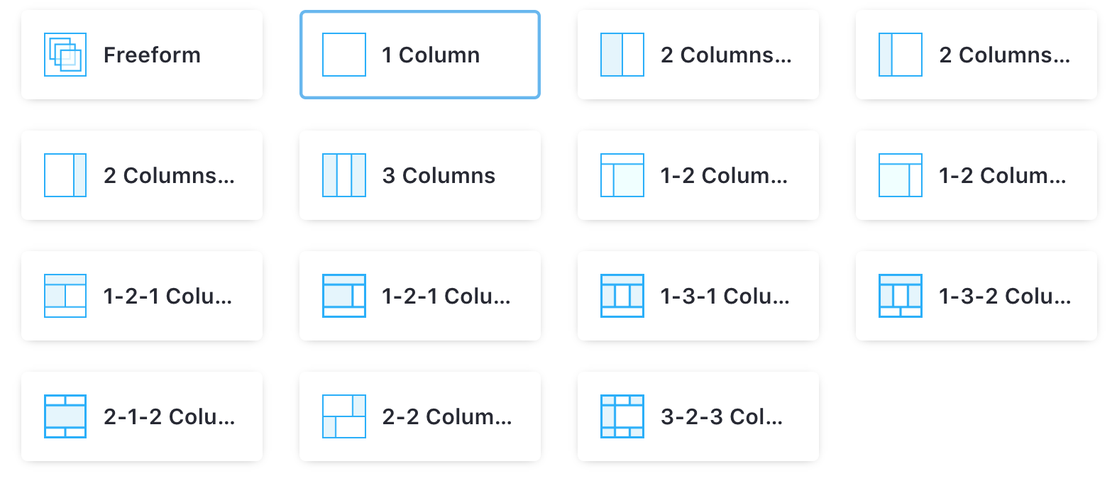 Figure 1: There are many default layout templates to choose from.