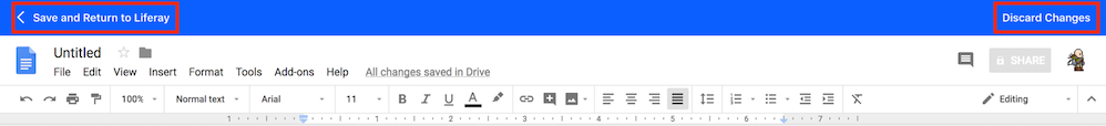 Figure 3: When using Googles document editor, you can save or discard your changes via the editors toolbar.