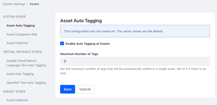 Figure 1: You can configure auto tagging globally in the Assets section of System Settings.