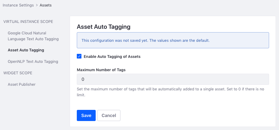 Figure 2: You can also configure auto tagging for each instance.