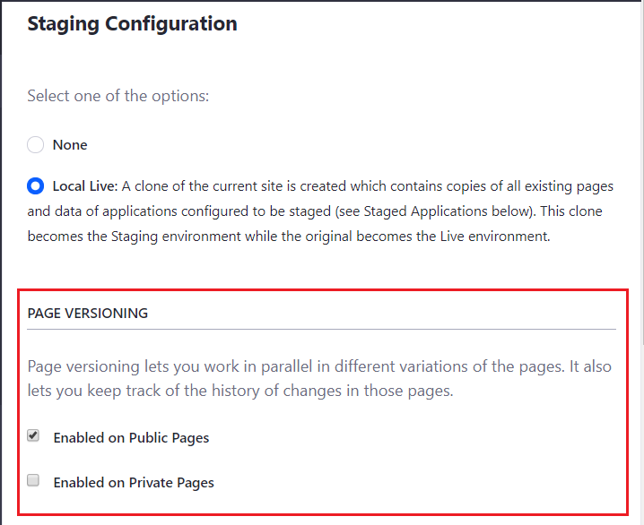 Figure 1: You can enable page versioning for public and/or private pages.