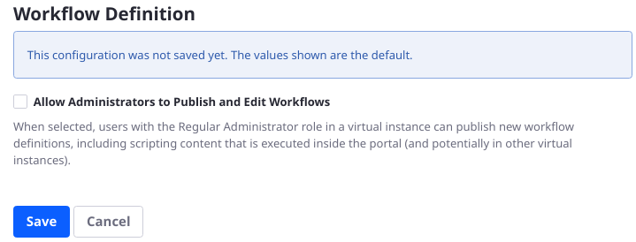 Figure 4: Explicit permission must be granted before administrators are allowed to publish and edit workflow definitions.