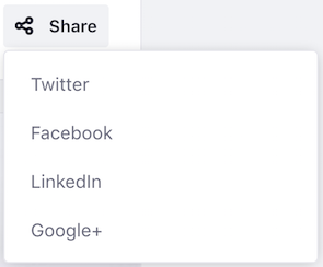 Figure 2: With displayStyle set to menu, all social bookmarks appear in the Share menu.