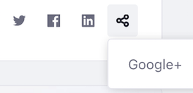 Figure 1: With displayStyle set to inline, the first three social bookmarks appear in a row and the rest appear in a menu.