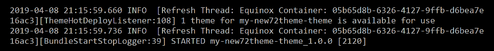 Figure 1: Your servers log notifies you when the themes bundle has started.