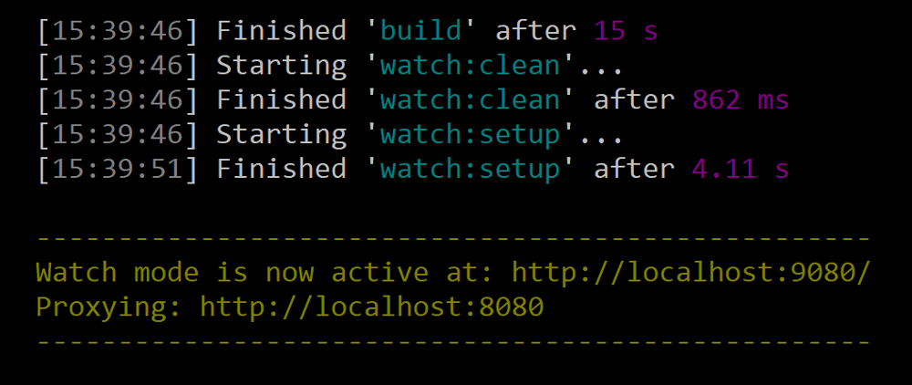 Figure 1: Run the gulp watch task to automatically deploy any changes to your theme.
