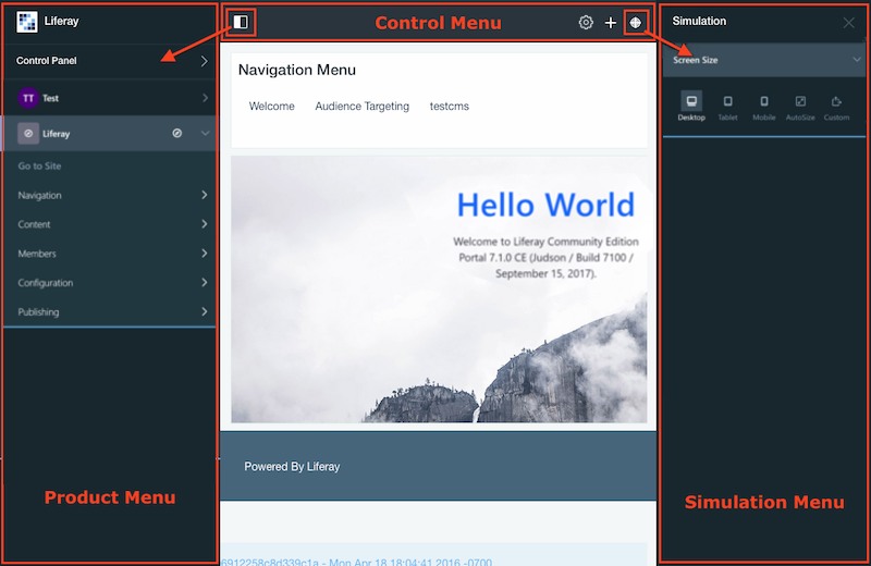 Figure 1: The Control Menu, Product Menu, and Simulation Panel are packaged as Theme Contributor modules.
