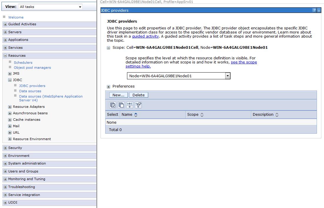 Figure 3: WebSphere JDBC providers