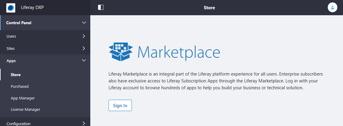 Figure 2: Click the Store link and authorize Marketplace to access your local account.