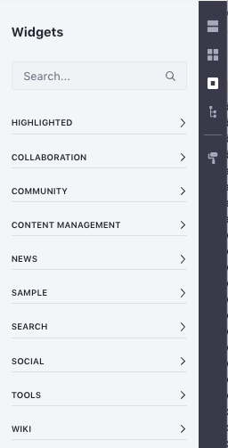 Figure 5: The Widgets section provides a list of Widgets that can be added inside of a Layout.