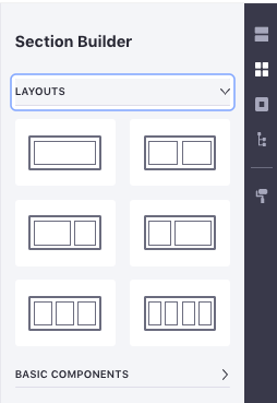 Figure 4: Sections Builder contains Component Fragments which are intended to be combined to create Sections.