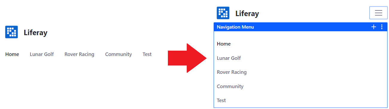 Figure 2: The main navigation adjusts its size.