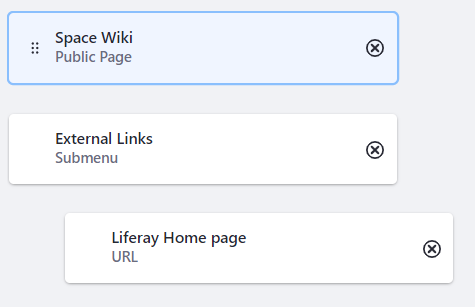 Figure 1: Menus can have a standard page, a submenu, and a URL link in the submenu.