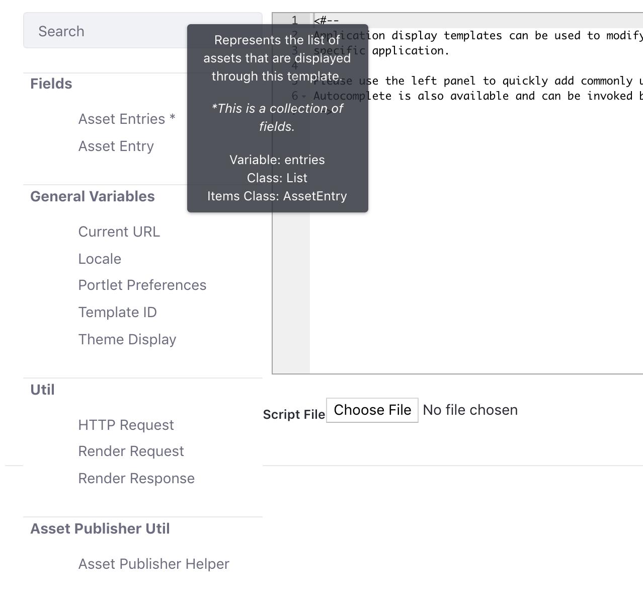 Figure 2: Liferay offers a versatile script editor to customize your widget template.