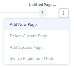 Figure 3: You can add new pages or reset the current page from the Page Actions menu.