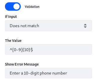 Figure 4: Regular expression text validation opens up countless possibilities.